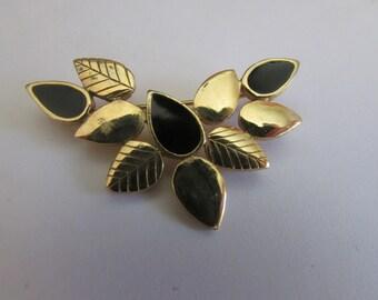 Black leaf brooch