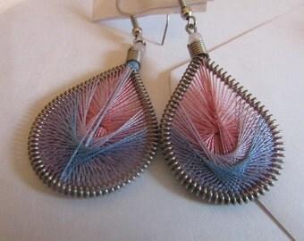pink & blue string dangle earrings