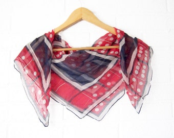 Vintage Japanese Chiffon Scarf - Red White and Blue Geometric Shawl - Rustic Hair Wrap Head Scarf - Large Abstract Autumn Fall Accessory