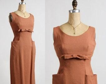 ON SALE 1960s Linen Dress Pockets & Bow