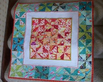 PINWHEELS, 30 inch square handmade quilt