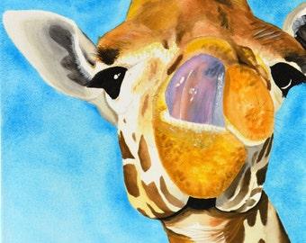 Giraffe #9 Watercolor Art Print 8x10