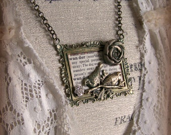Bird Necklace Handmade Vintage Style Statement Necklace  Vintage Nature Lover Handmade Bird Pendant Mixed Media Jewelry Altered Jewelry