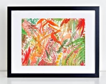 "Abstract Watercolor Print titled ""In the Zen Garden"", Abstract Art, Garden Print, Zen Decor,"