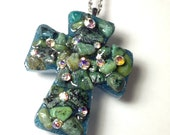 Vintage AB Aurora Borealis Rhinestone Turquoise Chip Stone Cross Necklace Pendant Charm Acrylic Sparkly Glittery Reclaimed Wearable Art A3