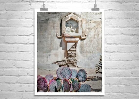 Spanish Mission, Church Art, Tucson Photo, Arizona Architecture, San Xavier, Mission Church, Cactus Art, Catholic Art, Jesus Art