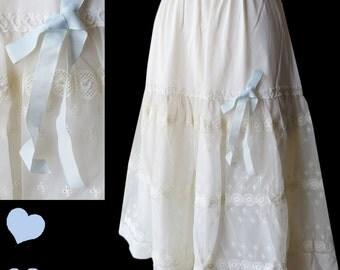 Vintage 50s Petticoat White Slip Lace Blue Ribbon Bow Bridal Wedding Crinoline Full Skirt
