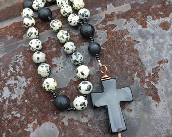 Christmas in July Dalmation Jasper  and Black Onyx Anglican Rosary  Protestant Prayer Beads Righteousness