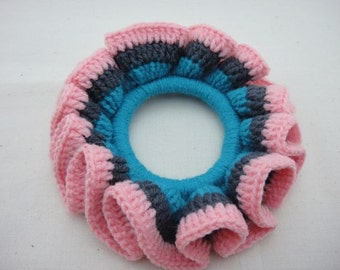 BUY 1 FREE 1 - Crochet Scrunchies - Blue, Grey and Pink  (SC8)