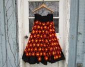 Lg. OOAK Crochet Daisy Upcycled Maxi Skirt// One of a Kind// emmevielle