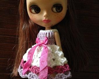 Neo Blythe Princess Crochet Dress - White