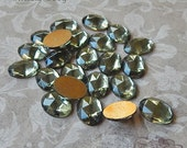 Vintage Cabochons - 13x18 mm Smoky Grey West German Faceted Glass Stones