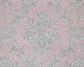 1960s Vintage Wallpaper Gray Damask on Pink by the Yard--Made in West Germany