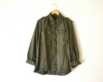 "1970' Green ""Belgium"" Military Button-Up Shirt"