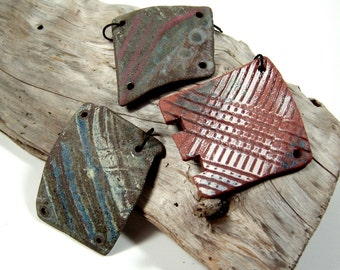 One of a Kind Hand Formed Tumbled Reversible Pottery Shards of Stoneware Clay, Upcycled, Hand Drilled
