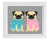 103D - Dog Print - Two Pugs in Sweaters Wall Art - Pug Wall Art - Pug Drawing - Dog Prints - Cute Dog Art - Dog Lover Gift - Pug Portrait