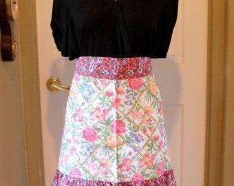 pink cotton Half apron,pink half apron,pink floral half apron,eco friendly,half apron,pink apron,apron,floral apron,half floral apron,pink