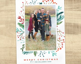 CHRISTMAS CARD Photo Christmas Card Picture Holiday Cards Printable Christmas Card Printed Christmas Cards Floral Christmas card