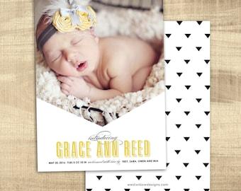 modern birth announcement, Baby boybirth announcement, Baby girl announcement, Digital Photo birth announcement, PRINTABLE