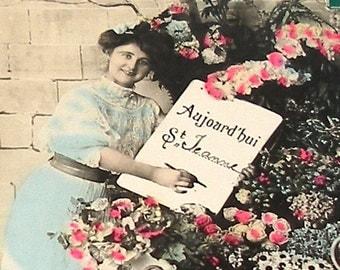 Antique French Postcard, Edwardian lady with flowers, RPPC paper ephemera.