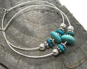 Natural turquoise and sterling hoop earrings, hammered sterling silver hoops with sterling and turquoise accents