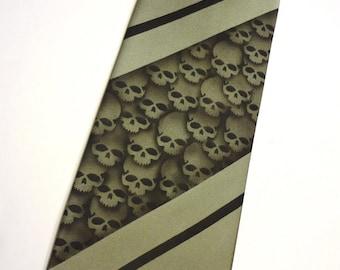 RokGear skull stripe necktie design - 4 Men's microfiber neckties print to order in colors of your choice
