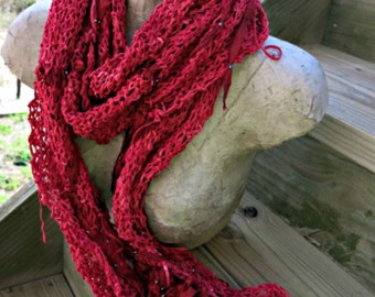 Hand Knit Red Fringe Scarf -Red Faux Suede Scarf- Crimson Scarf - Red Scarf - Mia
