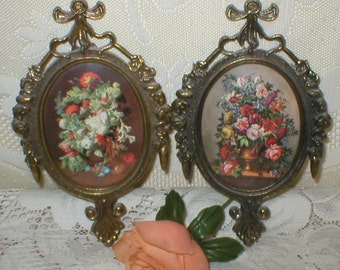 Italian Pictures Prints Oval Metal Frames Bowed Glass Roses Regency Decor