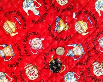 Mary Engelbreit Quilted Fabric Tossed Teapots on Red - 6 Placemat Ready Pieces