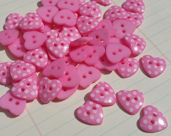 """Pink Heart Buttons - Polka Dots - Sewing Hearts Button Fuchsia Magenta Pink - 9/16"""" Wide - 25 Buttons"""