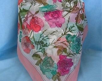 Vintage Sheer Floral Scarf