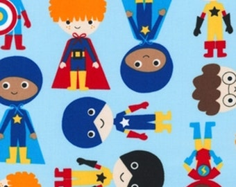 Adventure Super Kids Blue - Ann Kelle - Super Kids Collection - Robert Kaufman - Available in Fat Quarters, Half Yards and Yards