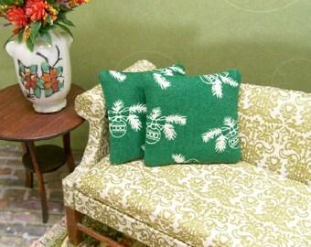 Green Ornament Pillows Christmas Cream 1:12 Dollhouse Miniatures Scale Artisan