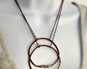 Large Rustic Circle Necklace, Copper & Silver, Modern Boho, Bohemian, Gypsy, Boheme, Statement Necklace, Modern Organic Hammered Circle