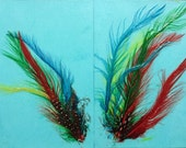 Set of two feathers on Aqua cards