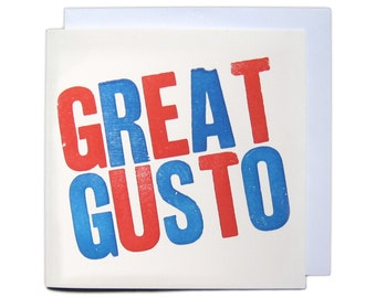 Letterpress Woodblock Greetings Card - Great Gusto