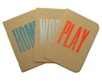 Letterpress A6 Handy Notebook Pack of 3