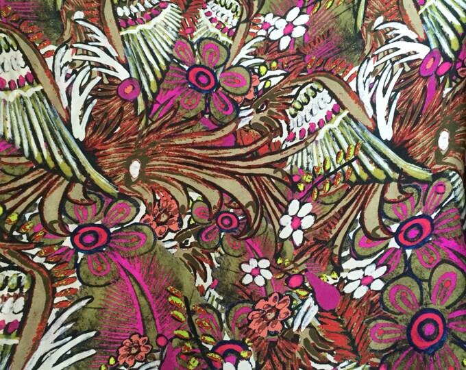Rain Forest Print in Fuchsia/White/Green/Multi - Designer Closeout - Silk Double Georgette FABRIC