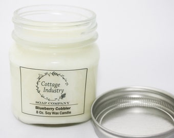 Soy Wax Container Candle - Blueberry Cobbler - Container Candle - Scented Candles - 8 oz
