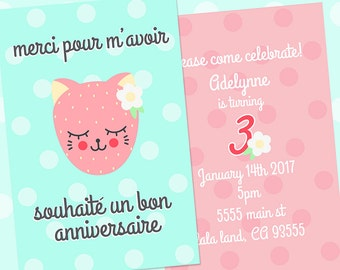 Catberry Print or email Party 4x6 Invitation file