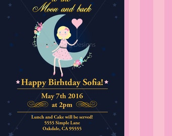 Printable Party Invitation - I Love you to the Moon Birthday Invitation - Digital File