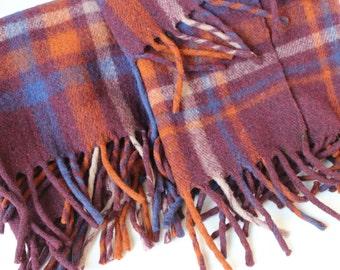 Vintage Plaid Wool Stadium Blanket Unusual Color Antique Wool Throw