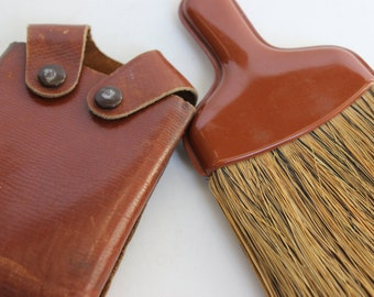 Antique Mens Clothing Brush and Shoe Shine Tool with Leather Case Vintage Brown Leather Case with a Brush Inside Gentleman's Valet Kit Brush