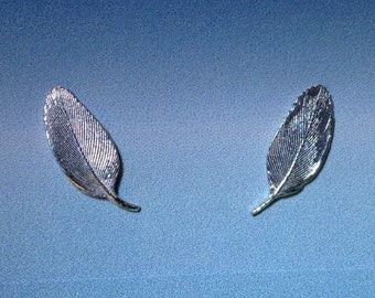 Tiny Feather earrings  Sterling Silver