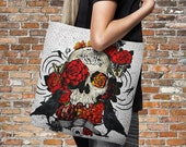 """Sugar Skull Tote Bag Over Sized 18"""" x 18""""  Crows and Roses"""
