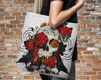 "Sugar Skull Tote Bag Over Sized 18"" x 18""  Crows and Roses"