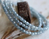 10% off BLUE CASHMERE BITS .. 50 Picasso Czech Blue Glass Beads 3mm (5035-st)