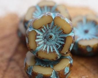 10% off BLUE CREAM PANSY .. 6 Picasso Czech Glass Flower Beads 12mm (4535-6)