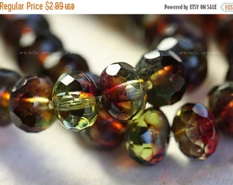 10% off BERRY LIMEADE ..10 Premium Picasso Czech Glass Faceted Rondelle Beads 6x8mm (4103-10)
