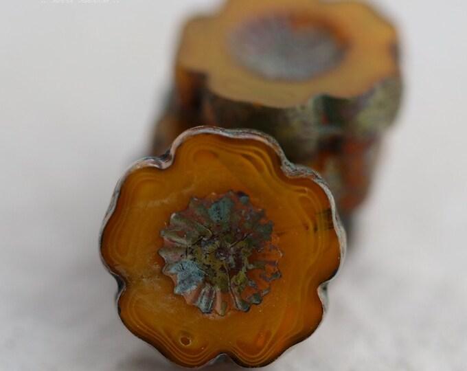 SQUASH BLOSSOM No. 1 .. 4 Picasso Czech Glass Flower Beads 13-14mm (5286-4)